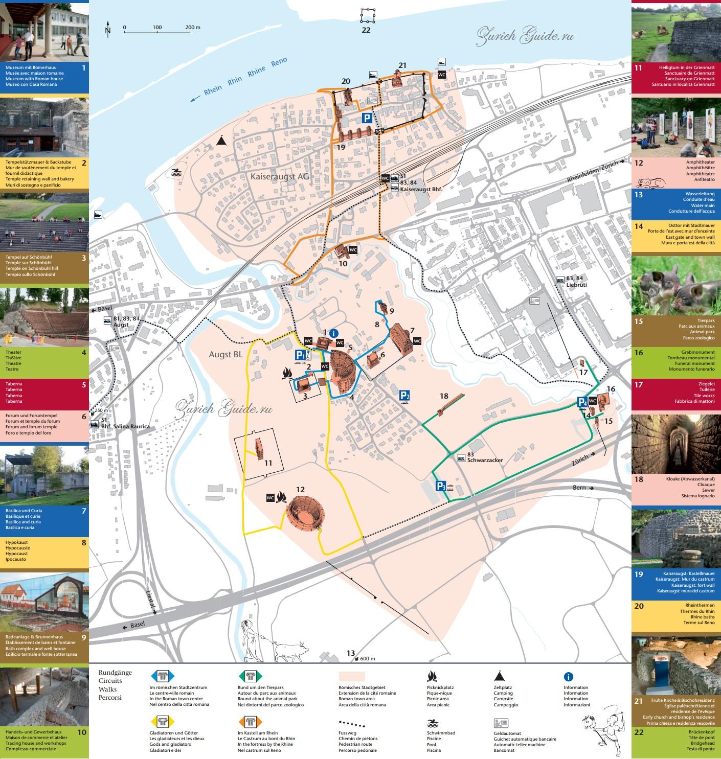 Карта - путеводитель по городу Аугуста Раурика (Augusta Raurica), окрестности Базеля, достопримечательности Швейцарии, древнеримские памятники в Швейцарии, что посмотреть вокруг Базеля