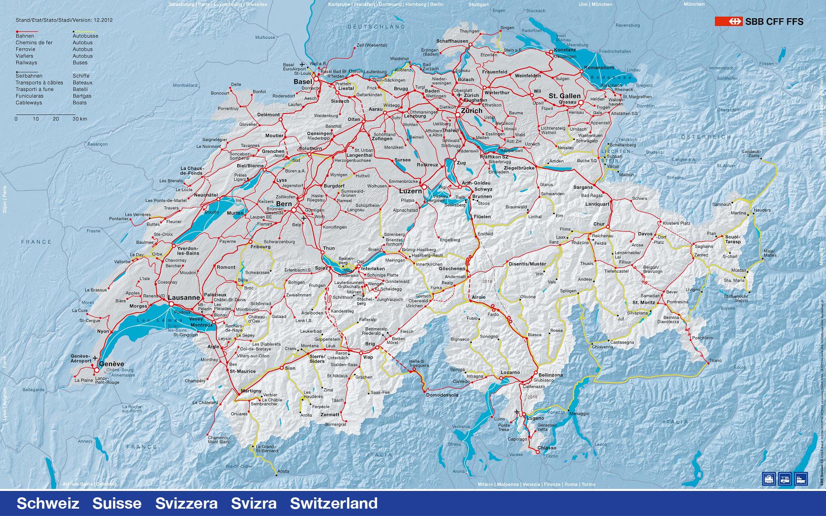 Карта Швейцарии - транспортные карты Швейцарии - Путеводитель