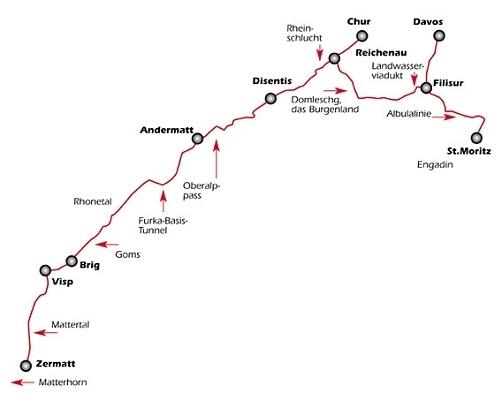 Ледяной экспресс (Glacier express) - панорамный поезд по Швейцарии - описание маршрута, карта, стоимость, расписание. Фото из поездки. Панорамные маршруты