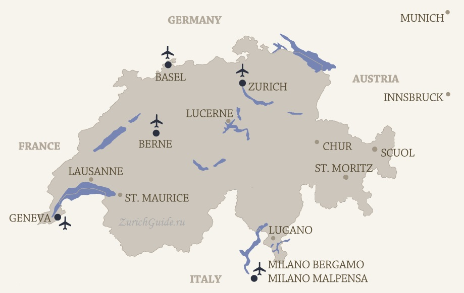 arports switzerland location map