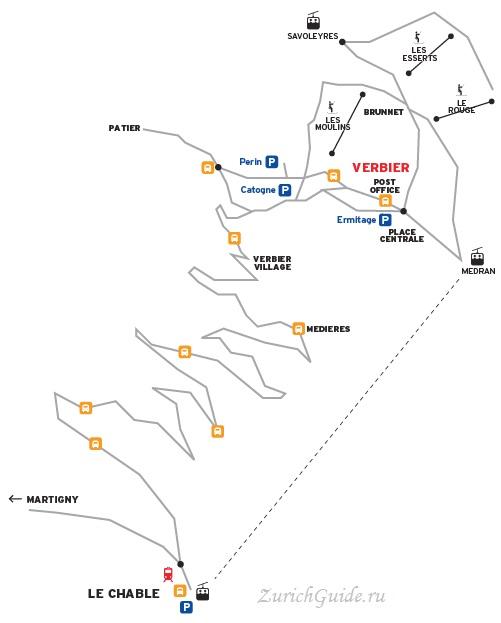 Verbier-arrival-map Горнолыжный курорт Вербье (Verbier), Швейцария - как добраться в Вербье, расписание, проезд из аэропорта, цены. Ски-пассы, описание курорта. Фото Вербье