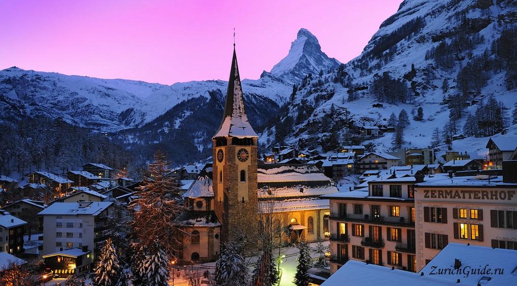 Zermatt-church Горнолыжный курорт Церматт (Zermatt), Швейцария - как добраться - расписание, цены, как сэкономить. Что посмотреть - достопримечательности, карта, фото
