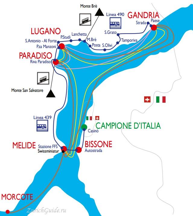 Круизы по озеру Лугано - карта