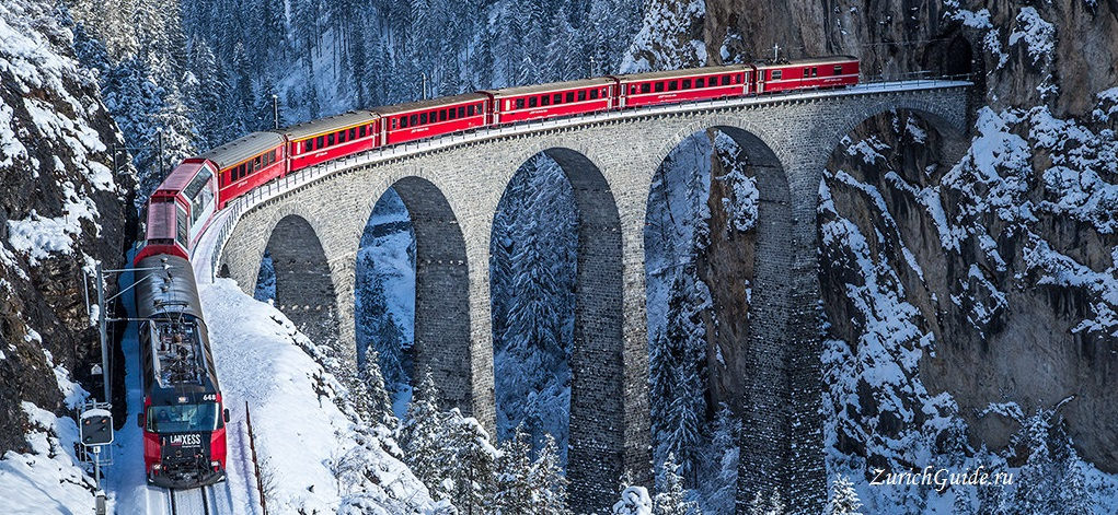 Bernina-express Панорамные поезда по Швейцарии - панорамные маршруты по Швейцарии