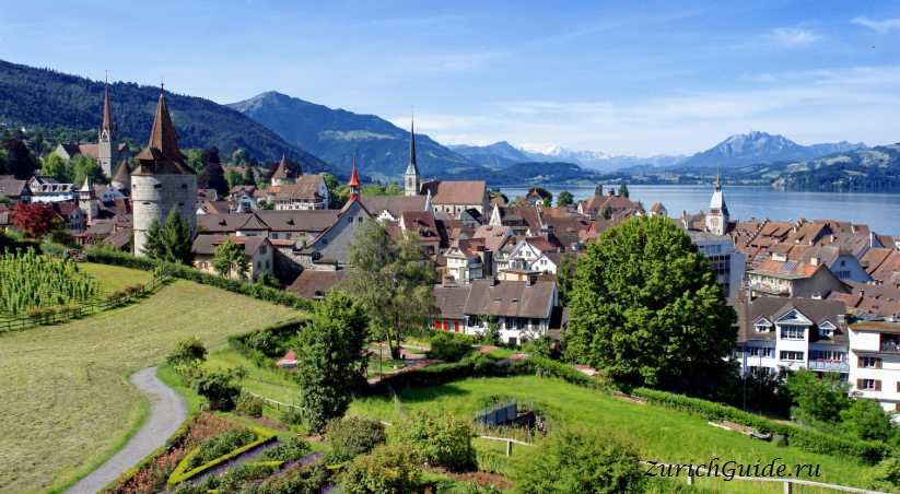 Кантон цуг в швейцарии панорама города дубай