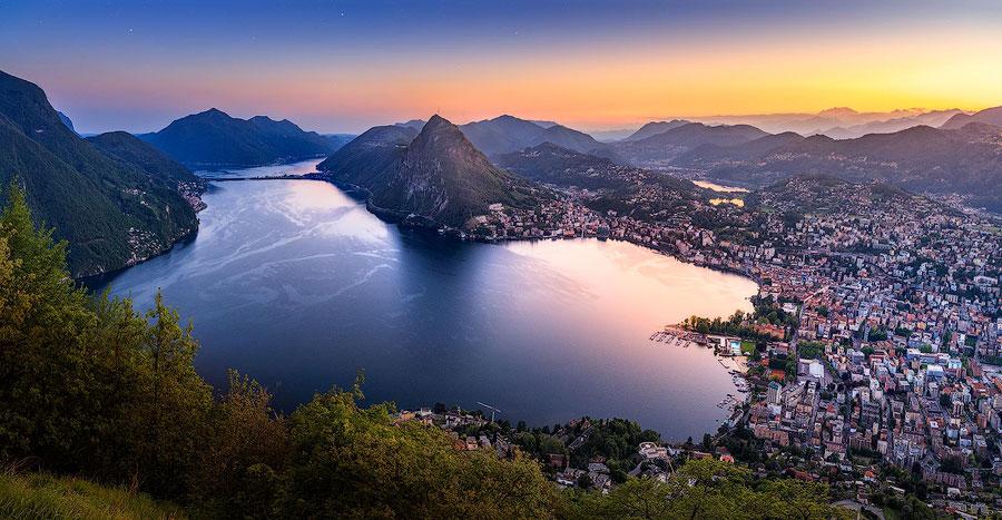 Гора Монте Бре Тичино Лугано Швейцария озеро Лугано